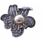 Sunflower Pearls Elegant Sophisticated Brooch Pin w/ Cubic Zircon Bud Decorated Brooch