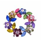 Multi Crystals Flower Brooch Round Flower Crystals Sophisticated Brooch