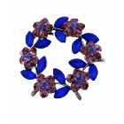 Crystals Flower Brooch Amethyst Blue Crystals Round Flower Sophisticated Brooch