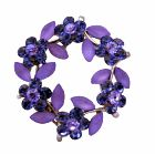 Round Flower Silver Casting Sapphire Crystals Flower Brooch
