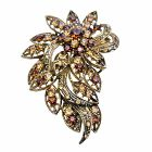 Antique Copper Brooch w/ Smoked Topaz & Lite Smoked Crystals Brooch