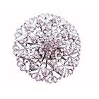 Wedding Sparkling Brooch Bridal Brooch Silver Casting Round Fully Embedded w/ Cz Aritistically Designed 2 Inches Brooch