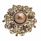 Wedding Bridal Bridesmaid Round Copper Gold Plated Brooch Gold Casting Artistically Designed Brooch