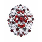 Silver Casting Decorated Siam Red Crystals Vintage Dress Brooch