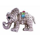 Cute Cubic Zircon Elephant Brooch w/ Multi Colored Cubic Zircon Brooch