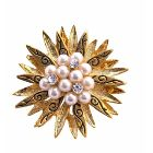 Vintage Gold Brooch w/ Pearls & Cubic Zircon In Center Surrounded w/ Gold Leaf Brooch