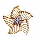 Stylish Trend Gold Brooch w/ Size 2 x 2 & Decorated w/ Cz In The Center