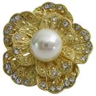 Gold Rose Round Brooch Decorated w/ Cubic Zirconh