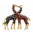 Twin Giraffes Brooches Gold Plated Animal Brooch