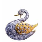 Silver Glitter Animal Brooch Gold Plated Silver Duck w/ Gold Wings Decorated CZ