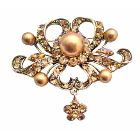 Vintage Ethnic Copper with Flower Dangling Antique Gold Brooch