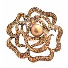 Copper Rose Brooch Multi Round Rose Wedding Sparkling Brooch