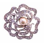 Multi Round Rose Brooch Wedding Sparkling Brooch 2 Inches By 2 Diameter Aritistically Designed Brooch
