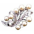 Ivory Pearls Bridal Bridesmaid Brooch Silver Casting 3 Inches Long