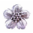 Beautiful Flower Petals In Silver Wedding Brooch Very Classy Gorgeous w/ Rhinestones 2 By 2 Inches