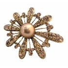 Bronze Smoked Topaz Topaz Encrusted Brooch Adorable Gold Fan Flower Petals Brooch Gorgeous Brooch