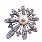 Fan Shape Flower Brooch Fully Embedded Rhinestones & Pearls in the Center