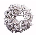 Sparkling Round Bridal Dress Brooch with Tiny And Round Flower Decorated W/ Cubic Zircon Diamond 2 Inches Diameter Brooch