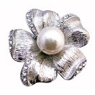 Flower 5 Petals White Pearls in the Middle Bridal Inexpensive Brooch