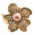 Golden Sunflower Brooch with Golden Shadow Crystals All Over Spread Vintage Elegant Brooch Pin & Golden Pearls