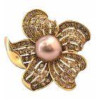 Golden Sunflower Brooch with Golden Shadow Crystals All Over Spread Vintage Elegant Brooch Pin & Golden Pearls