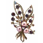 Smoked Topaz Crystals Bronze Pearls Bouquet Dress Brooch