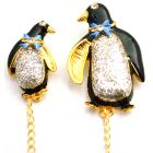 Baby Shower Brooch Enamel Penguin Mother & Baby Brooch Decorated with Bow & Glitter On The Body