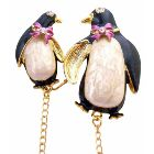 Mother & Baby Brooch Baby Shower Brooch Enamel Penguin On Skate