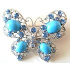Turquiose Butterfly Sparkling Aquamarine Crystals Holiday Gift Gorgeous Brooch Pin