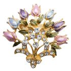 Enamel Floral Lotus Brooch Pin Very Fancy Detailed and Colorful Floral Pin Lotus Bouquet Brooch