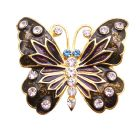 Decorative Stylish Butterfly Holiday Gift Box Brown Enamel Sparkling Diamond Studs Brooch