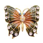 Bright Glimmering Two Shaded Look Like Real Butterfly Brooch Sparkling Diamond Studs Brooch