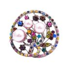Pink Pearls Round Brooch Multi Crystal Encrusted All Over Beautiful Holiday Christmas Gift At A Great Price