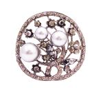 Unique Christmas Gifts Gray Pearls Black Diamond Crystals Round Brooch