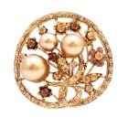 Fun Wear & Delightful Diversions Gifts Unique Christmas Gifts Bronze Pearls Round Brooch Gift