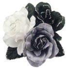Satin Flower Creation Brooch Black White Grey Gorgeous Dress Brooch