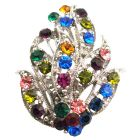 Leaf Bouquet Brooch Alloy Metal w/ Spring MultiColor Crystals Brooch