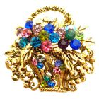 Gold Burnished Multi Colored Rhinestone Flower Basket Brooch Pin