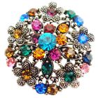 Antique Round w/h Multicolor black Silver Round Flower Bouquet Brooch