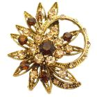 Flower Decorated Ring Shaped Flower Brooch Smoked Topaz Crystals & Colorado Crystals Jacket Brooch