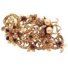 Vintage Antique Gold Brooch Smoked Topaz Crystals Brown Pearls Bouquet