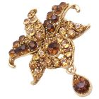 Smoked Topaz Crystal with Teardop Dangling Exclusive Style Brooch