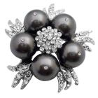 Match Your Brooch with Dark Grey Dress Pearl Brooch