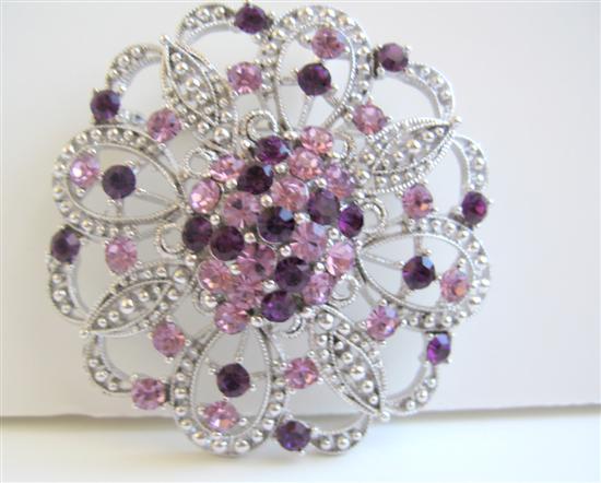 Round Brooch Sparkling Amethyst Crystals Light & Dark Heart Crystals Swirly Gift Brooch
