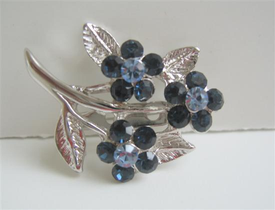 Sapphire Crystals Flower Brooch w/ Cubic Zricon On Stem & Leaf