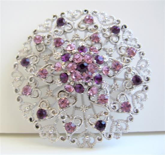 Amethyst Crystals Round Brooch Sophisticated Formal Round Brooch