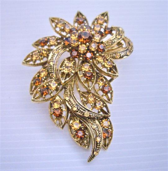 Atntique COpper Brooch w/ Smoked Topaz & Lite Smoked Crystals Brooch