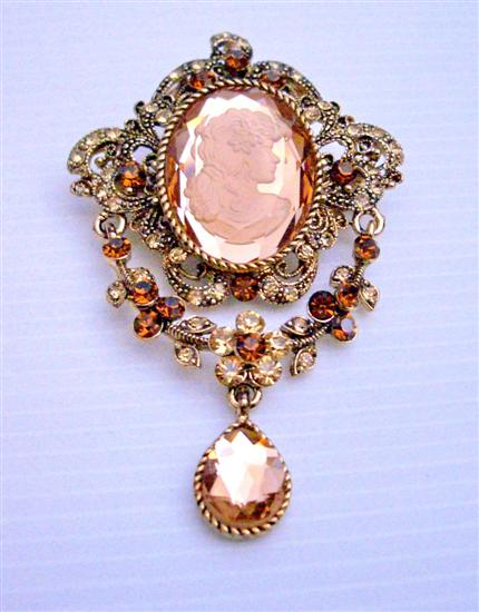 Victorian Cameo Lady Brooch Atntique Gold Copper Brooch w/ Smoked Topaz & Lite Smoked Crystals & Cute Dangling Brooch