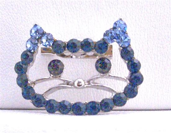 Sapphire Rhinestones Kitty Face Brooch Very Cute Brooch Cute Kitty Brooch