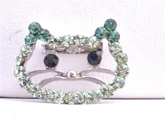 Peridot and olive Rhinestone Brooch Kitty Face Very Cute Brooch